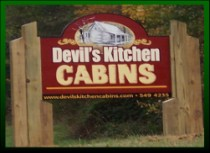 Sign To The Devil's Kitchen Cabins